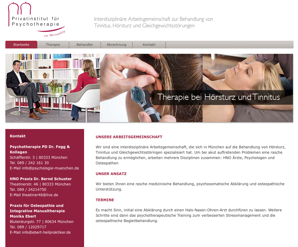 Interdisziplinäre Therapie von Tinnitus, Schwindel und Hörstörungen